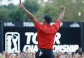 男子ゴルフ米国ツアー、フェデックス・カップ、プレーオフ最終戦、ザ・ツアー選手権最終日。優勝を喜ぶタイガー・ウッズ(2018年9月23日撮影)。(c)Sam Greenwood/Getty Images/AFP