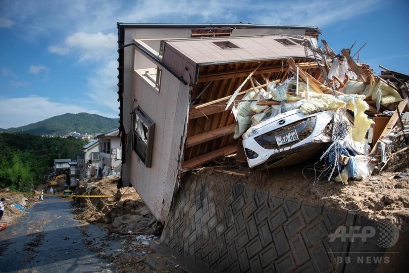 大雨による被害を受けた広島県熊野町の様子(2018年7
