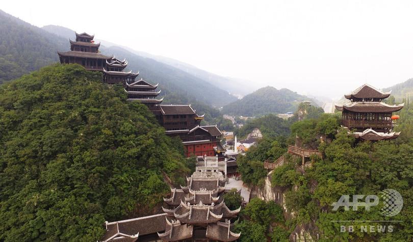 空から見た蚩尤九黎城の景色(2019年7月6日撮影、小型無人機から)。(c)Xinhua News
